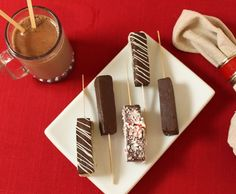 """Hot Chocolate on a Stick! Yummmy..They should really be called """"Super Intense Fudge Blocks That You Skewer And Oh Yeah, If You Put Them In Milk They Melt And Make Amazing Liquid Fudge."""""""