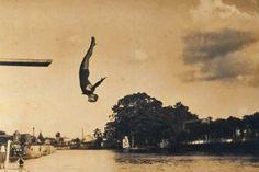 Salto ornamental: prática comum em 1927 (Foto: Acervo Clube Esperia)