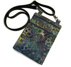 Small cross body bag, Fabric sling bag, Cell phone bag, Batik crossbody bag, Messenger bag, Shoulder purse, Passport bag, Teen purse