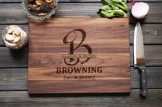 Personalized Cutting Board Family Name Sign with Monogram gifts Custom Engraved Cutting Board Personalized Wedding Gift Anniversary Gift on Etsy, $48.70