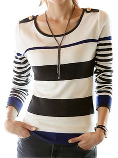 Pretty Stripes Long Sleeve Round Collar Slim Women's Oversize Knitwear on buytrends.com