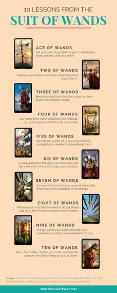 10 Lessons from the Minor Arcana: the Suit of Wands | Tarot Learning | Tarot Meanings |  Tarot Cheat Sheet | Tarot Minor Arcana | Tarot Wands #tarot #soultruthgateway