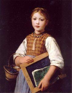 Albert Anker, school girl with slate and knitting basket
