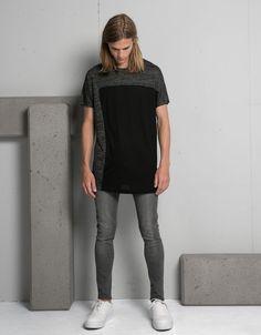 Camiseta combinada textura - Camisetas - Bershka España