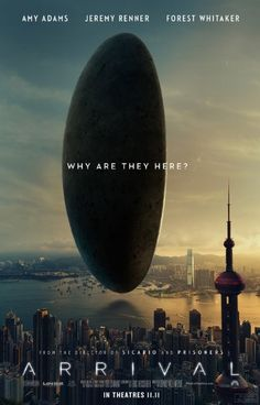 Directed by Denis Villeneuve. With Amy Adams, Jeremy Renner, Forest Whitaker, Michael Stuhlbarg. Arrival Film, Arrival Poster, The Arrival, Jeremy Renner, Amy Adams, Science Fiction, Film Watch, Movies To Watch, Premier Contact Film