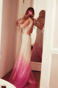 Leila shams ombré wedding dress, open back wedding dress, brooch bouquet