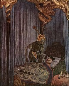 """Even Death himself listened to the song. (from 'The Nightingale'). """"Stories from Hans Andersen"""" illustrated by Edmund Dulac Art And Illustration, Magazine Illustration, Art Illustrations, Botanical Illustration, Edmund Dulac, Hans Christian, The Snow, Andersen's Fairy Tales, Arthur Rackham"""