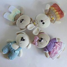 вязаные мишка, кошечка, зайка и собачка :)Описание вязания мишки<br>Автор: Юлия Мусатова