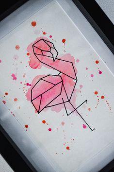 Geometric Shapes Art, Geometric Drawing, Geometric Painting, Geometric Animal, Flamingo Painting, Flamingo Drawings, Love Painting, Watercolour Painting, Cool Art Drawings