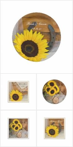 Rustic Sunflower Country Chic Wedding Sunflowers Horseshoe Barn Wood Pretty Personalized Paper Reception Dinner Food Products