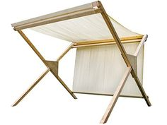 Pérgola madera en tela blanca