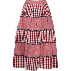 Rahul Mishra     Paneled Gingham Skirt (13 355 UAH) ❤ liked on Polyvore featuring skirts, a-line skirt, high-waisted skirts, high rise skirts, high-waist skirt and high waisted skirts