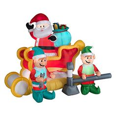 Christmas Santa On Sleigh With Elves ! Large Animated Christmas Santa On Sleigh With Elves Features Inflate and deflate conveniently and easily. In his race around the world, show Santa he can take a pit stop at your house with the Large Animated. Animated Christmas Decorations, Inflatable Christmas Decorations, Outside Christmas Decorations, Christmas Inflatables, Reindeer Decorations, Halloween Inflatables, Christmas Lanterns, Christmas Deer, Outdoor Decorations