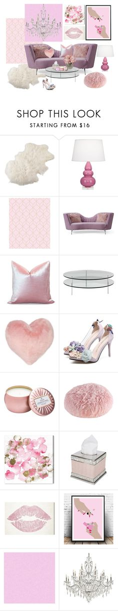 """Legally Blonde Vibes!"" by zsuzsannaa ❤ liked on Polyvore featuring interior, interiors, interior design, home, home decor, interior decorating, Saro, Robert Abbey, SCP and Nordstrom Rack"