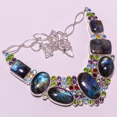 925 Sterling silver natural labradorite+peridot+garnet+bt+multi necklace g203 #handmade #necklace