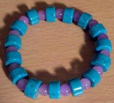 "Turquoise & Purple Stretch Bracelet 7 1/2"" $10"