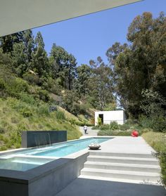 Swimming pool at hillside residence in Beverly Hills, CA.