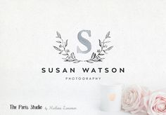 Watercolor Floral Wreath Monogram Logo Design - photography logo, restaurant branding, website logo, boutique logo, creative business branding or small business logo.