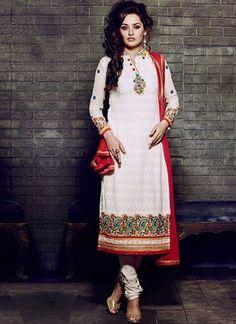 Peach Flower Thread Work Zari Work Santton Georgette Designer Salwar Kameez  http://www.angelnx.com/Salwar-Kameez