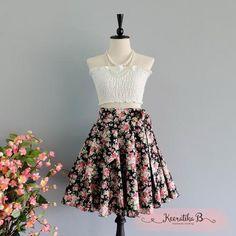 Summer's Whisper Floral Skirt Spring Summer Sweet Black Pink Floral Skirt Party Cocktail Skirt Wedding Bridesmaid Skirt Black Floral Skirts
