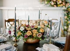 Five Innovative Color Palettes To Explore for your Wedding | Aisle be with you | Ruby's Vintage Rentals | Marianne's Rentals for Special Event Solutions | Juniper Designs | Amanda Watson Photography #brdidesofok #wedding #centerpiece