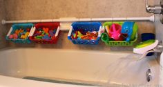 Use a shower rod and small plastic baskets to make the perfect way to store your kid's bath toys. 100 Genius Hacks Guaranteed To Make A Parent's Job Easier Bath Toy Storage, Bath Toy Organization, Kids Storage, Storage Hacks, Storage Solutions, Storage Ideas, Organization Ideas, Shower Storage, Rv Storage
