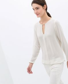 BLOUSE WITH FAUX LEATHER PIPING - Zara