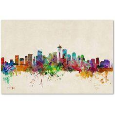 """Trademark Fine Art """"Seattle, Washington"""" Canvas Art by Michael Tompsett"""