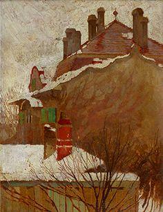 peinture autrichienne : Egon Schiele, maisons en hiver (vue depuis l'atelier), 1907. brun