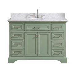 Home Decorators Collection Windlowe 49 in. W x 22 in. D x 35 in. H Bath Vanity in Green with Carrera Marble Vanity Top in White with White Sink - The Home Depot Granite Vanity Tops, Marble Vanity Tops, Marble Top, White Marble, Carrara Marble, Basin Cabinet, Vanity Cabinet, White Vanity Bathroom, Small Bathroom
