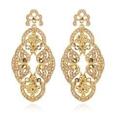 Gold Lace Dangle Earrings