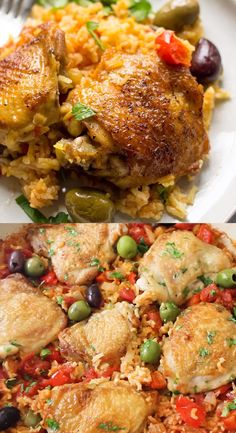 So incredibly delicious and easy to make. Is spanish chicken and rice is sure to become a hit at your house. Chicken thighs are seared till crispy a Chicken Drumstick Recipes, Easy Chicken Recipes, Meat Recipes, Cooking Recipes, Healthy Recipes, Chicken Paella Recipe Easy, Salmon Recipes, Recipes With Chicken Thighs, Chicken Thigh Fillet Recipes