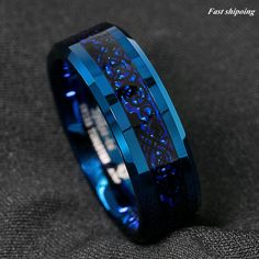 Buy Blue Tungsten Carbide Ring Carbon Fibre Black Celtic Dragon Men's Jewelry at Wish - Shopping Made Fun Tungsten Carbide Rings, Titanium Rings, Black Rings, Gold Rings, Mens Stainless Steel Rings, Cute Rings, Opal Rings, Blue Crystals, Crystal Earrings