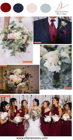 Burgundy, navy, blush and gray wedding colors inspiration by Eliana Nunes Floral Design   Wedding florist in North Carolina   Wedding Flowers Inspiration