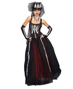 Zombie Bride Costume Day of The Dead Women's Size XL Dress Gloves Ensemble New | eBay