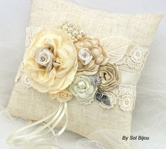 Ring Bearer Ring Bearer Pillow Shabby Chic Pillow in Ivory and Champagne with Linen, Lace and Pearls- Vintage Inspired