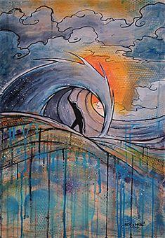 Showcase of surf art by surf artist Skye Walker on Club Of The Waves Skate Art, Surfboard Art, Tropical Art, Beach Art, Map Art, Painting Inspiration, Art Lessons, Cool Art, Art Drawings