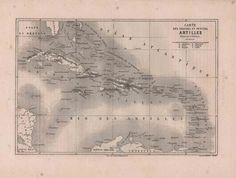 Antique french map from 1860  map of Carribean by reveriefrance, $15.00