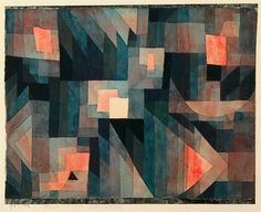 Paul Klee explored tints, or the amount of black or white in a given color, in this rich painting, (the prowess of compliments, blue green + red orange)