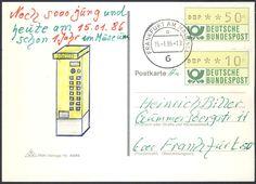 Germany, ATM 15.01.1986, Bund, Automatenmarken, ATM-Zusammendruck (50+10 Pfg.) , portogerecht, auf Postkarte von Frankfurt. Price Estimate (8/2016): 15 EUR.