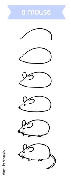 Dessiner une souris - draw a mouse - step by step