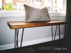 3ft Reclaimed Barn Wood Bench with Steel by MidwestSalvageStudio