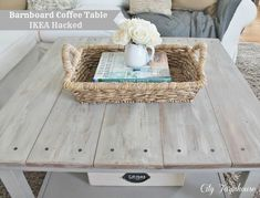 Ikea Hack and coffee table Coffee Table Ikea Hack, Coffee Tables, Weathered Wood Stain, Barnwood Coffee Table, Couch Makeover, Diy Projects For Beginners, Ikea Hackers, Hemnes, Rustic Table