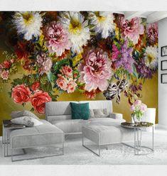 Vintage Dark Colorful Floral Wallpaper Big Flowers Wall   Etsy Bold Wallpaper, Custom Wallpaper, Photo Wallpaper, Wall Murals, Wall Art, Wall Decal, Big Flowers, Floral Flowers, Cleaning Walls