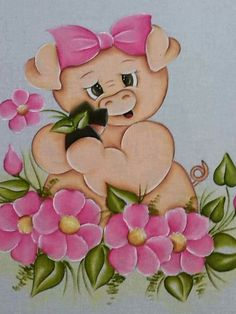 Pintura em tecido Nursery Paintings, Animal Paintings, Nursery Art, Cute Disney Drawings, Cute Drawings, Tole Painting, Fabric Painting, Painting For Kids, Art For Kids