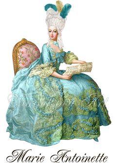 QUEEN Marie Antoinette Digital Image PILLOWS tea by VorontsovaART