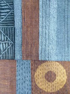 A cotton, block print, hand and machine stitched scarf detail by Gloria Freshley at Imogen Gallery