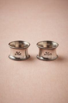 Mr. & Mrs. Napkin Rings  http://www.bhldn.com/shop-gifts-for-the-bride/sweethearts-napkin-rings-2/productoptionids/2cfdddea-ce77-41fb-bdf9-1bdcb7ca63f8
