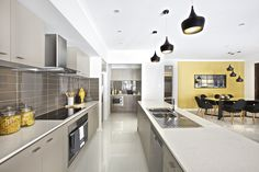 Clarendon Homes' Killara 30 - Kitchen and walk-in pantry WITH wood flooring ? brown cupboards (bottom - oven side and outside facing of island - only) ? Kitchen Designs, Kitchen Ideas, Clarendon Homes, Display Homes, Well Thought Out, Walk In Pantry, Wood Flooring, Interior Ideas