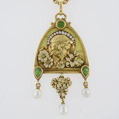 French Antique Gold Enamel, Diamond, Peridot and Plique-a-Jour Juilet Pendant